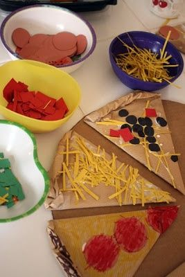 Cardboard Pizza Making...thinking this would be great for dramatic play.