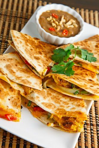 Chicken Satay Quesadillas with Spicy Peanut Dipping Sauce