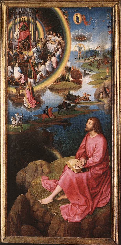 st. john the evangelist at patmos. hans memling. 1479....Qué hay detrás de la pintura? Cuál es el fondo?