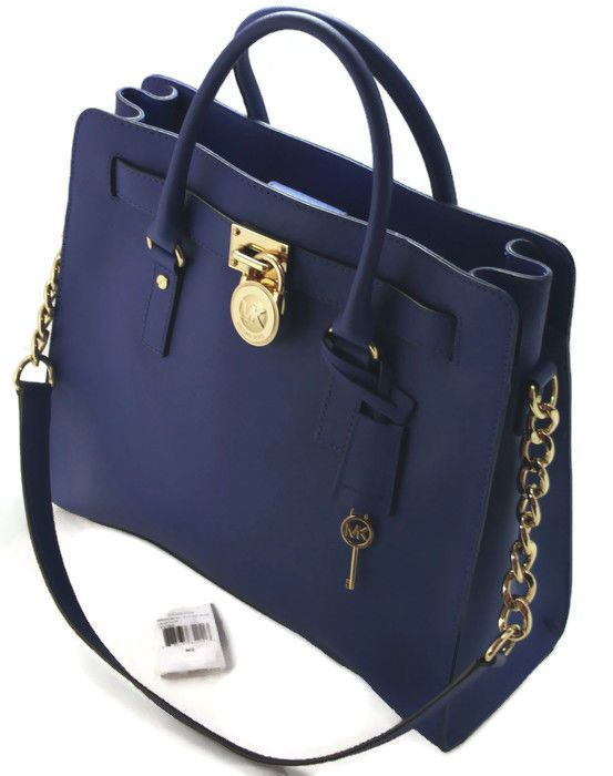Nwt Michael Kors Hamilton N S Satchel Electric Blue Saffiano Leather Gold Michaelkors Hot Handbags Pinterest