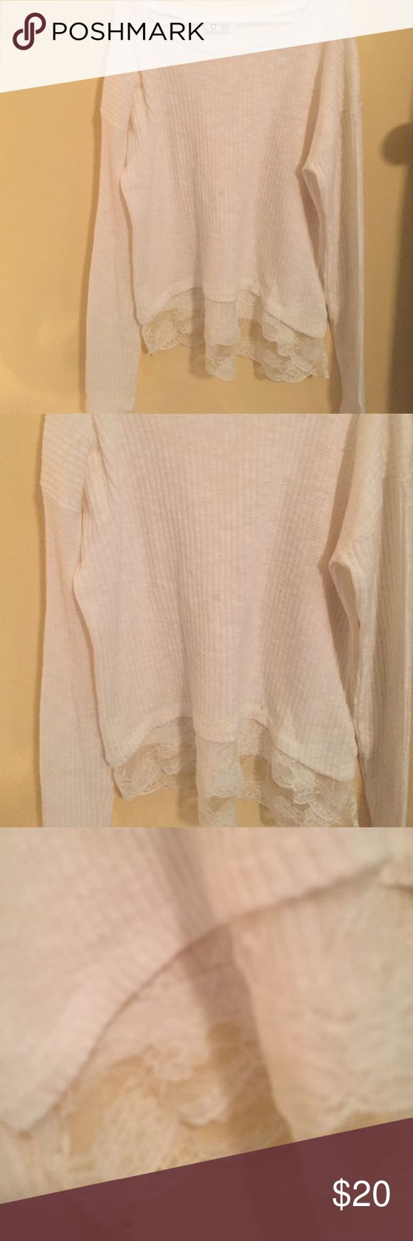 White Lace Trimmed Sweater Open to trades for naked 3 pallet, Brandy Melville cardigans, and combat boots Other