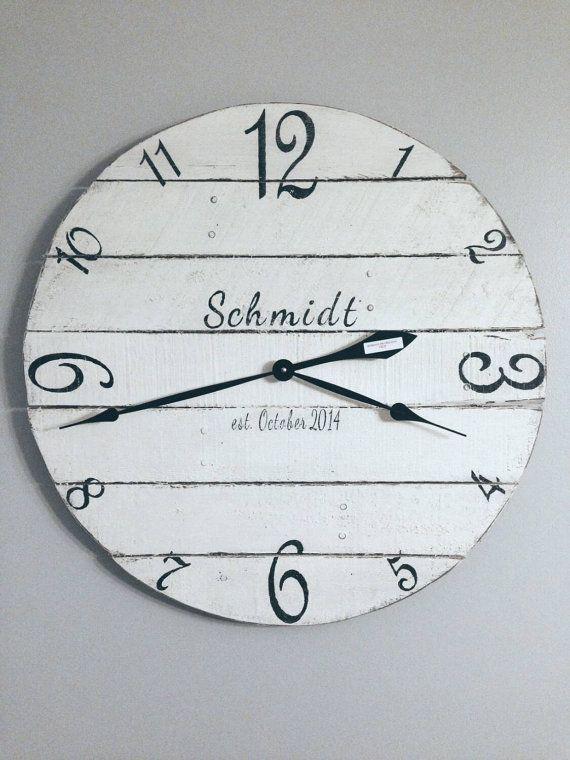Personalized wall clock - wood clock - white clock - number clock - reclaimed wood clock - pallet clock - wall clock - round clock