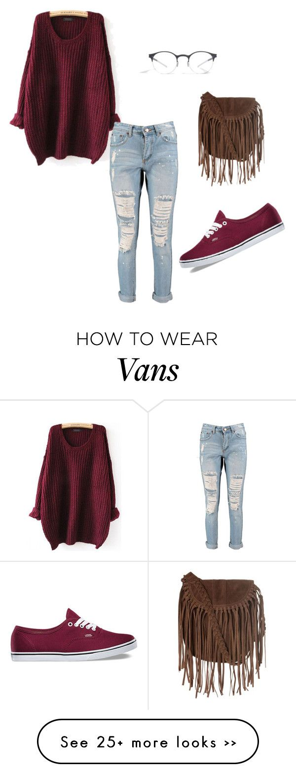 Comfy day out by abaniofficial on Polyvore featuring Boohoo, Vans, Glamorous and Mykita