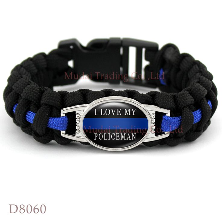 (10 PCS/lot) I LOVE MY POLICEMAN THIN BLUE LINE Paracord Survival Outdoor Camping Bracelet for Police Wife Mom Girlfriend