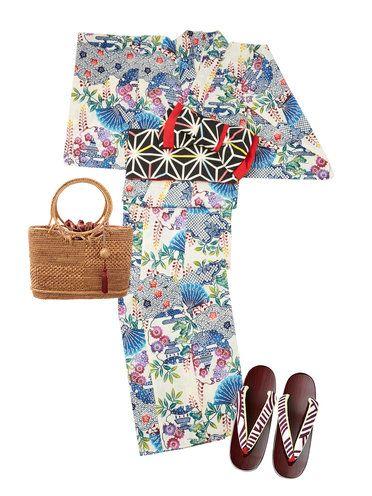 色鮮やかな紅型調の浴衣には、ハリのある綿麻という生地を使用。日本の古典的な模様がさまざまに組み合わさり、多彩な配色で染められた華やかな一枚は、黒地の半幅帯でぐっと引き締めるのが正解。籐を粗密に編み分...