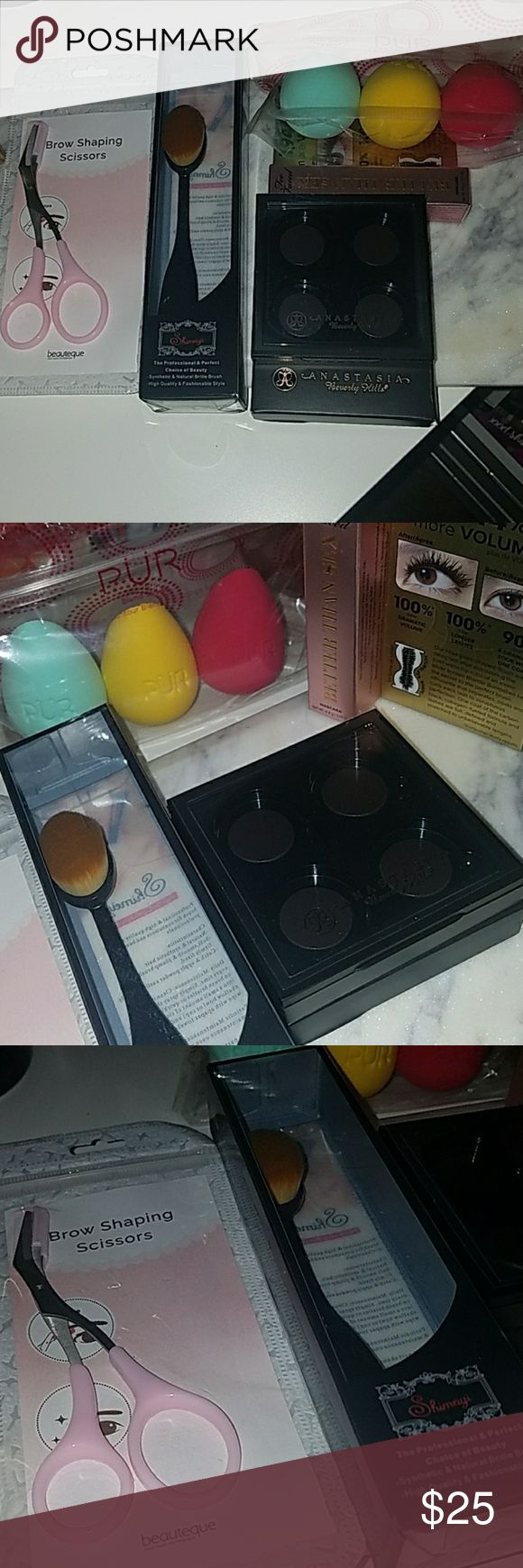 Pur sponges foundation brush ABH empty palette All new never used 3 pur make up sponges, small oval foundation, deluxe size too faced better than sex mascara, empty Anastasia Beverly Hills empty quad and brow shaping scissors.   Please check out my closet.   BUNDLE AND SAVE 😄 Pur Makeup Brushes & Tools