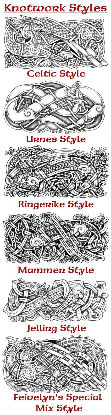Examples of almost the same motif and composition in different knotwork styles. I made one 2 years ago and I thought it was time to draw an updated version.