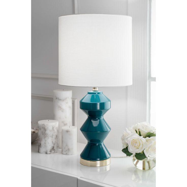 Watch Hill 26'' Aurora Ceramic Linen Shade Dark Teal Table Lamp (Teal), Blue