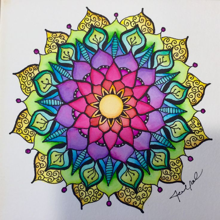 Freehand watercolor mandala by Jen Marsh Sharpie and Tombow Watercolor pens