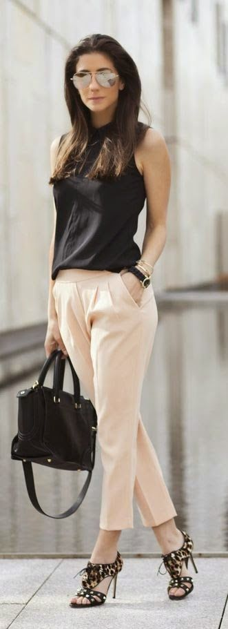 Office Style // Black sleeveless top with pastel colored pants.