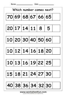 Skip counting missing numbers