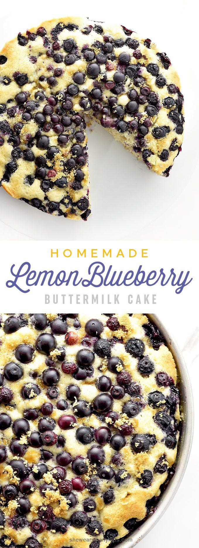Homemade Lemon Blueberry Buttermilk Cake Recipe   shewearsmanyhats.com