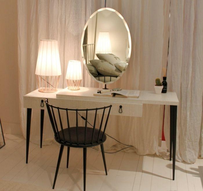 schminktische mit spiegel und lampen