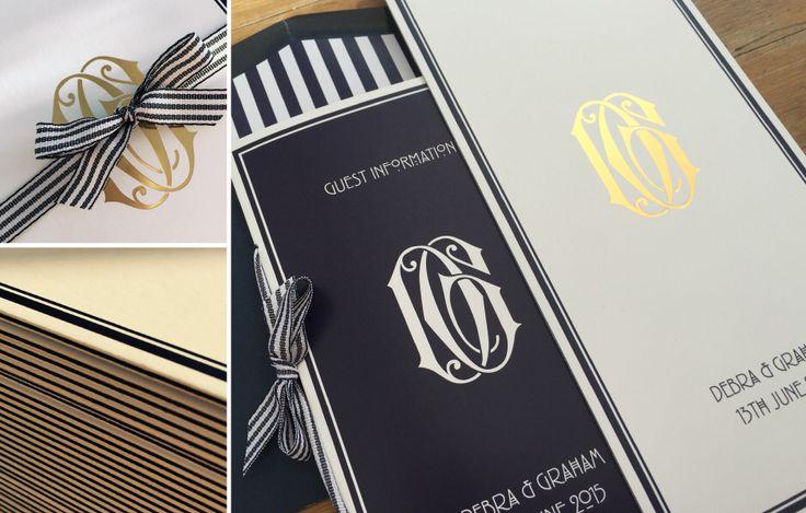 // Br&newweddings // Bespoke wedding stationery, Foiled invitation, Scottish landmarks, Rennie Mackintosh, navy stripe, preppy wedding