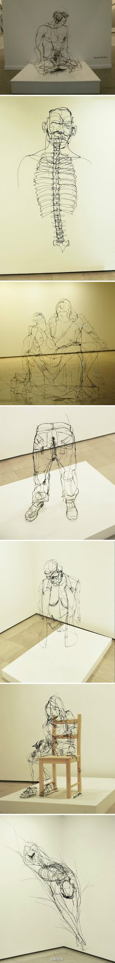 . Beautiful beautiful 3 d life drawings in wire (iron strings) by Portuguese artist David Oliveira