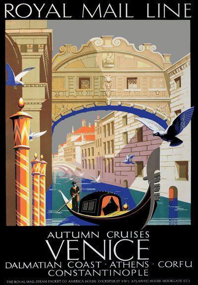 TU92 Vintage Cruises Venice Athens Corfu Travel Poster Re-Print A2 A3 #Vintage