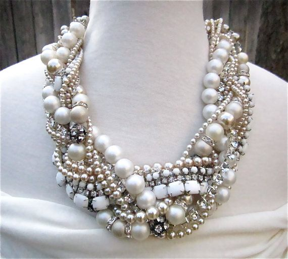Made To Order Chunky Pearl Rhinestone Necklace by AllThingsTinsel