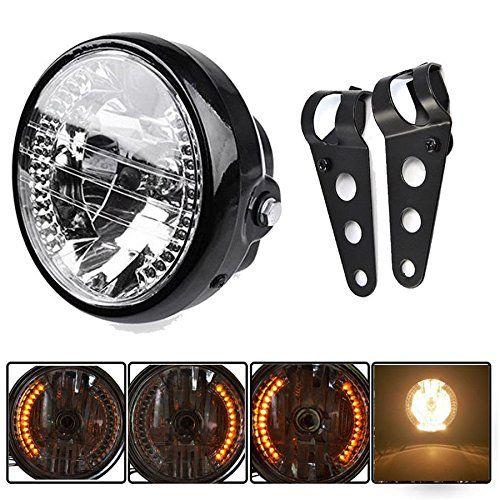 "Yosoo Universal Black Bracket Mount Universal 7"" Motorcycle Bike Headlight LED Turn Signal Light, Camping & Hiking - Amazon Canada"
