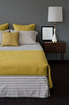 Yellow & gray: Colors Combos, Grey Bedrooms, Guest Bedrooms, Yellow Bedrooms, Gray Bedroom, Grey Wall, Colors Schemes, Guest Rooms, Gray Wall