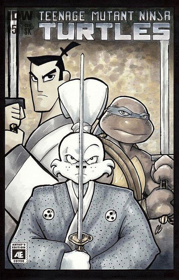 Samurai Jack Usagi Yojimbo Leonardo TMNT Original Sketch Cover Comic