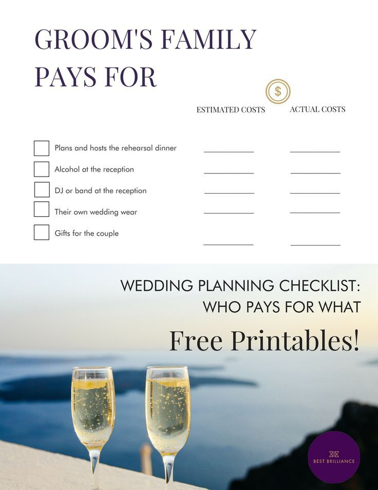 Who Pays For What In A Wedding The Ultimate Planning Printable To Keep You On