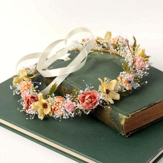 Wildflower Head Wreath, Natural Flower Crown, Rustic Flower Halo, Woodland Headband, Babys Breath Circlet, Australian Wedding, Bridal Crown on Etsy, 36,88€