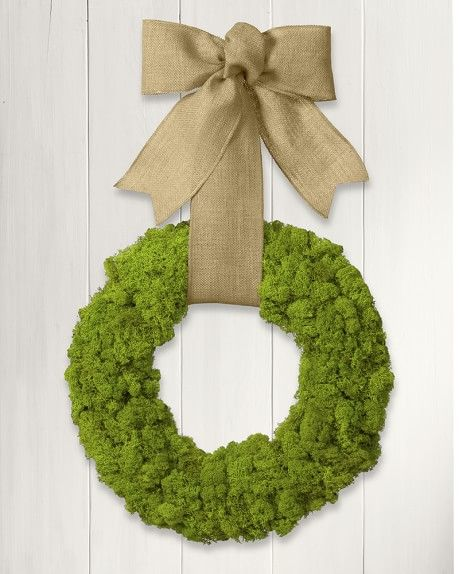 Moss Wreath with Burlap Ribbon | Williams-Sonoma