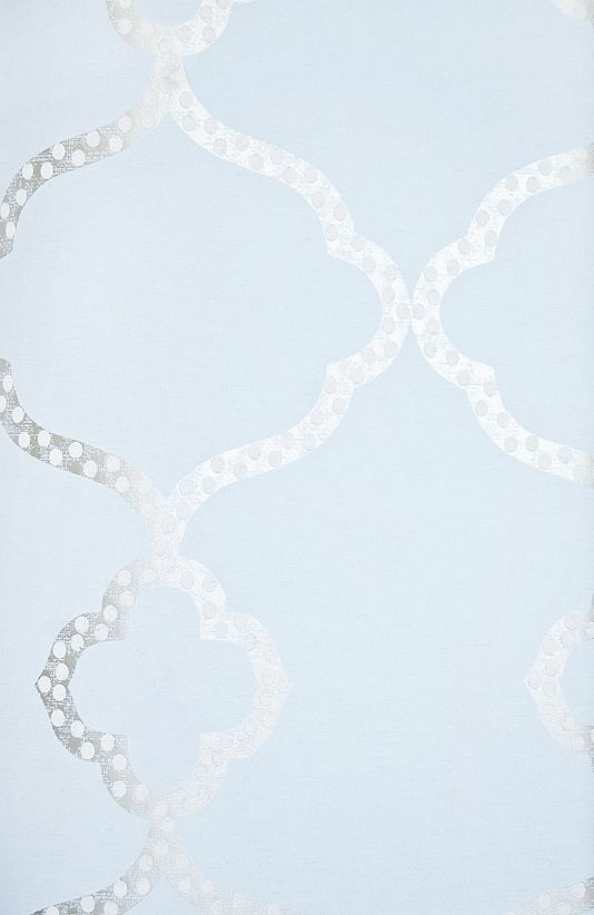 Gibraltar Trellis Wallpaper Light Blue Wallpaper with Metallic gilver and white dotted Trellis design.