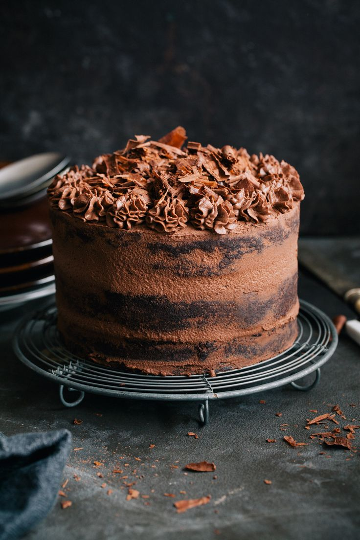 Naked Dark Chocolate Cake With Cream Cheese Recipe