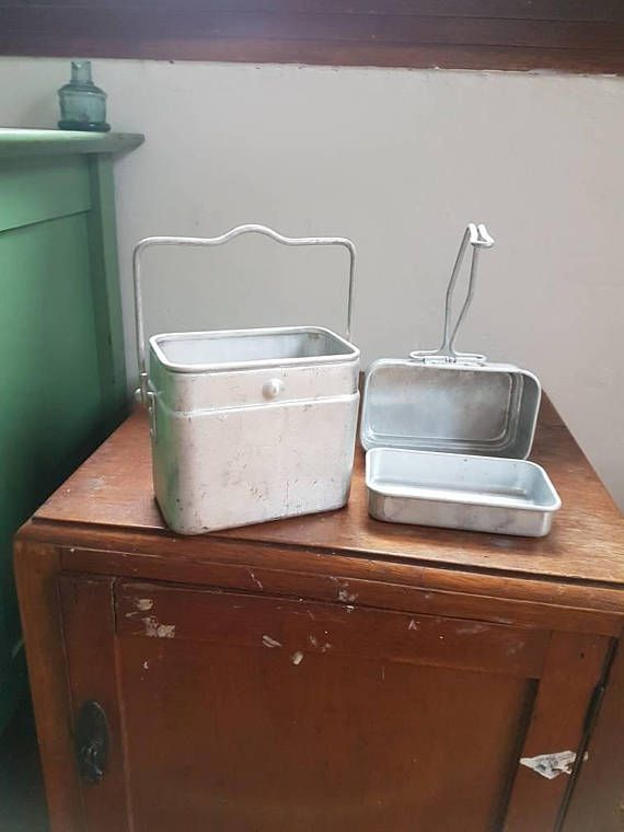 Vintage French Enamel Miners Lunch Box Aluminium 2 tier //