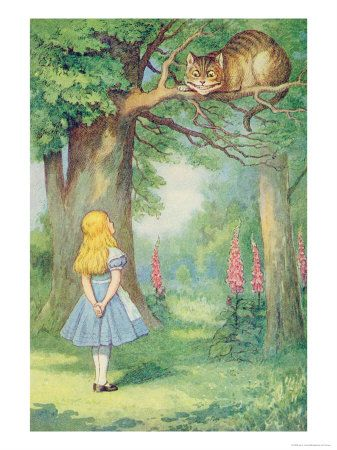 Alice and the Cheshire Cat, Illustration from Alice in Wonderland by Lewis Carroll / Giclee Print