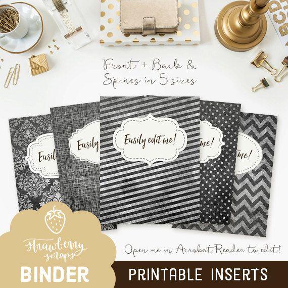 Black binder printables: CHALK PATTERNS 5x set by StrawberryScraps