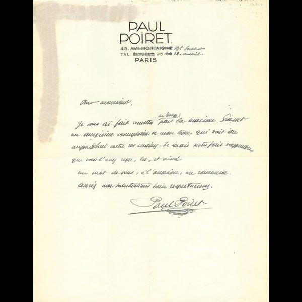 Poiret - Cher Monsieur, lettre de Paul Poiret (circa 1930)