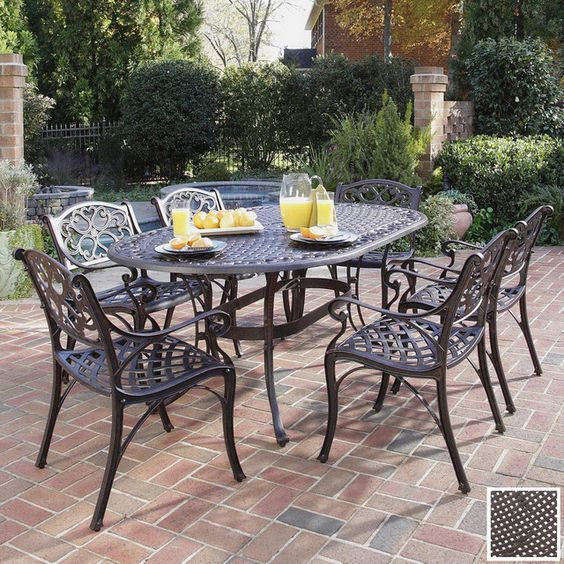 vintage outdoor patio furniture sets garden table and chairs black wrought iron in outdoor patio space