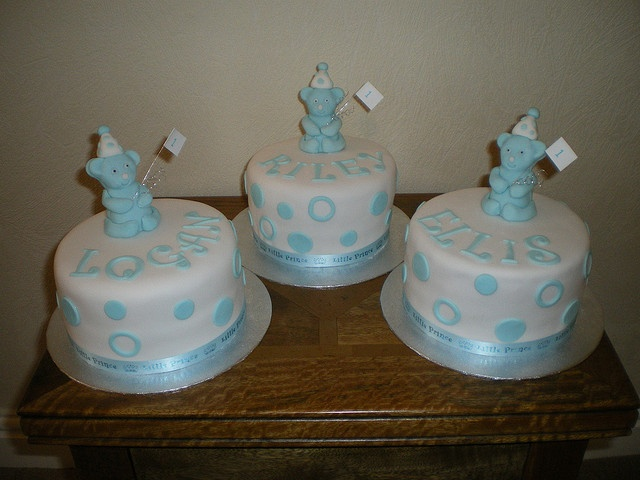 duffs decorated cakes | first birthday bear cakes triplets sponge cake with first birthday ...