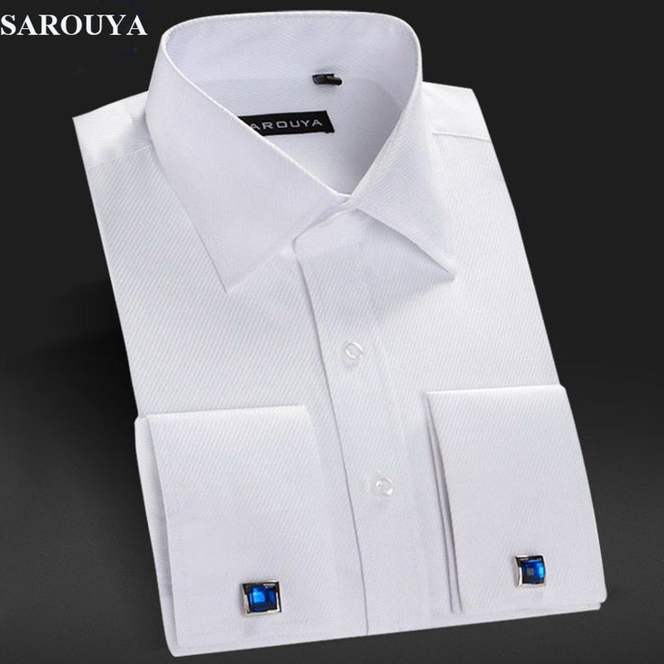 SAROUYA Mens White French Cuff Dress Shirt with Cufflinks Men Shirt Long Sleeve Slim Fit Brand Imported Clothing Men Clothes