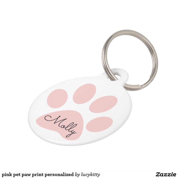 pink pet paw print personalized pet ID tag