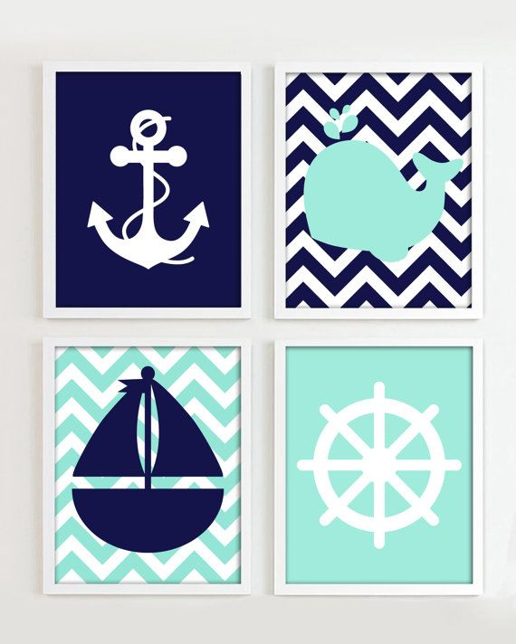 NAUTICAL PRINTS - Nautical Navy and Teal set of 4 8x10 JPG Files - Beach Ocean Sea more colors available