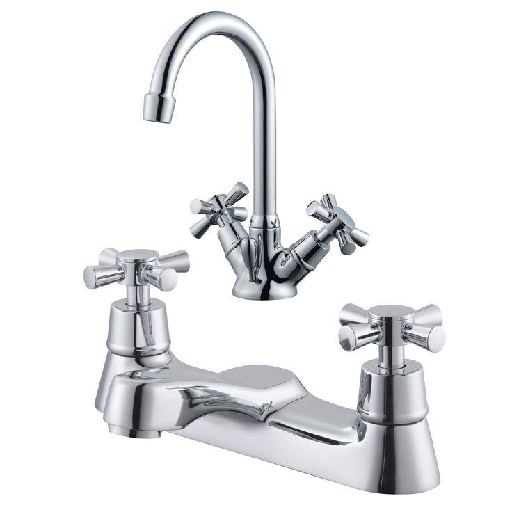 Plumbsure Crystal Chrome Basin & Bath Mixer Tap Pack of 2   Rooms   DIY at B&Q