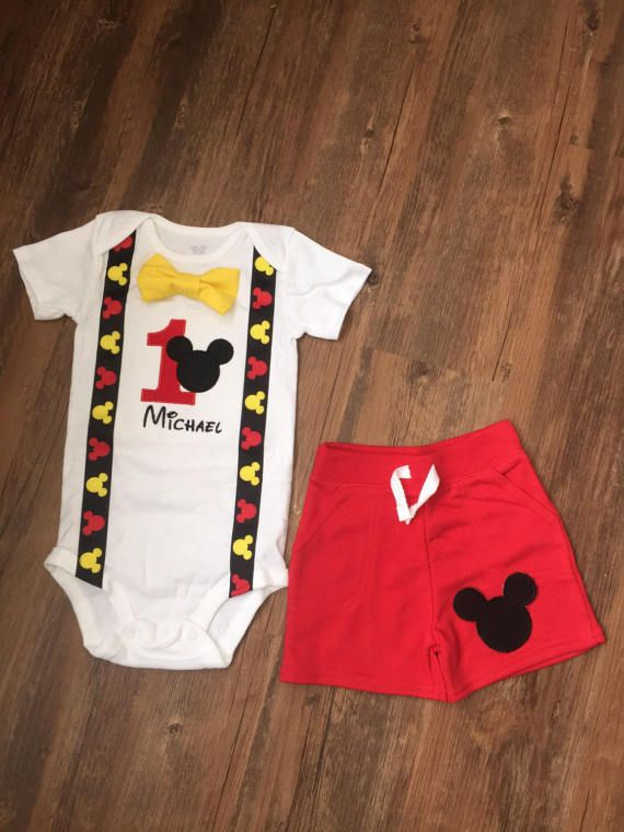 Mickey Mouse Inspired Birthday Outfit with Suspenders Bowtie