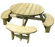 Round picnic table, 8 seat Pub type bench, 38mm treated timber, Winchester WRB38