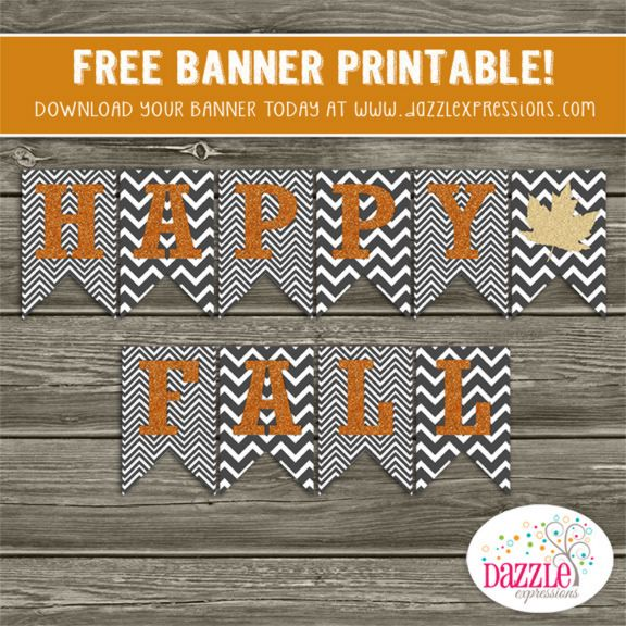 FREE Printable Happy Fall Banner | Chevron Banner | Leaves | Thanksgiving | Halloween | Become a loyal fan on Facebook to receive freebies and see the latest designs! www.facebook.com/DazzleExpressions