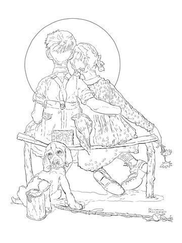 boy and girl gazing at the moon by norman rockwell coloring page