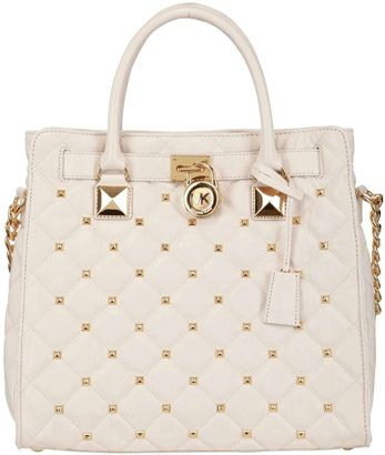 All White Handbags, Pure & Bright - Michael Kors Large Hamilton Quilted Leather Bag
