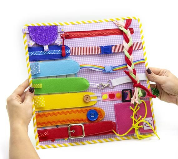 Sensory board with lattices, string toys for the construction of fine motor skills, toddler toy for 1 year and up from MiniMom