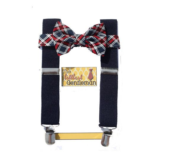 boy bow tie suspenders set,Navy plaid bow tie suspenders set, baby boy suspenders, Navy and Coral wedding bow tie suspenders set