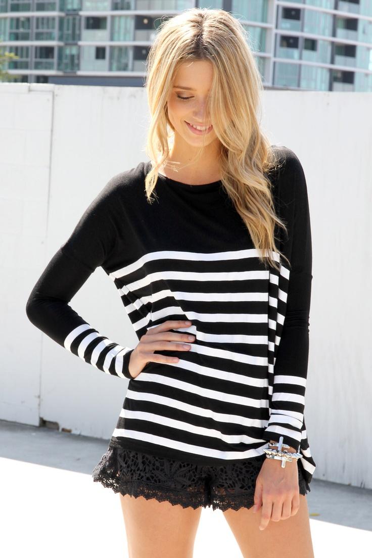 Black Stripe Tunic: Black Lace