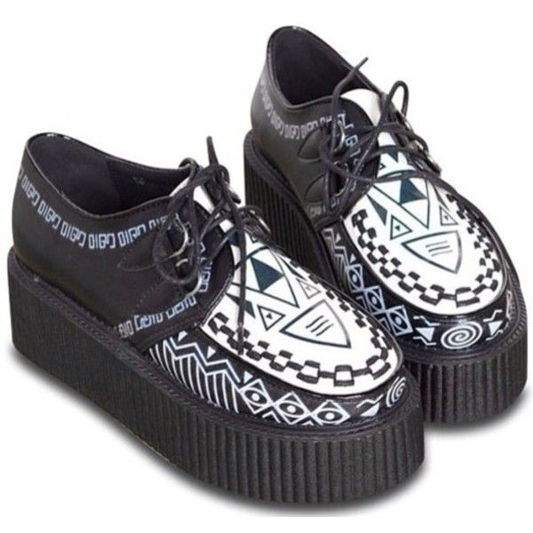 Shoes: creepers black and white black aztec cute pastel pastel goth... ❤ liked on Polyvore featuring shoes, aztec print shoes, black and white creeper shoes, white and black shoes, pastel shoes and black creeper shoes