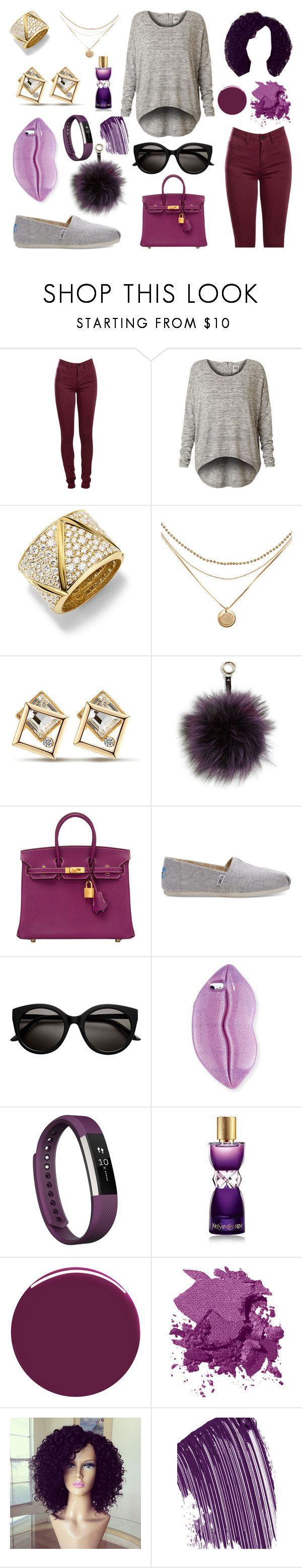 """""""CPLE"""" by highlight1 on Polyvore featuring Pieces, Vero Moda, Marina B, Adrienne Landau, Hermès, TOMS, STELLA McCARTNEY, Fitbit, Yves Saint Laurent and Nails Inc."""