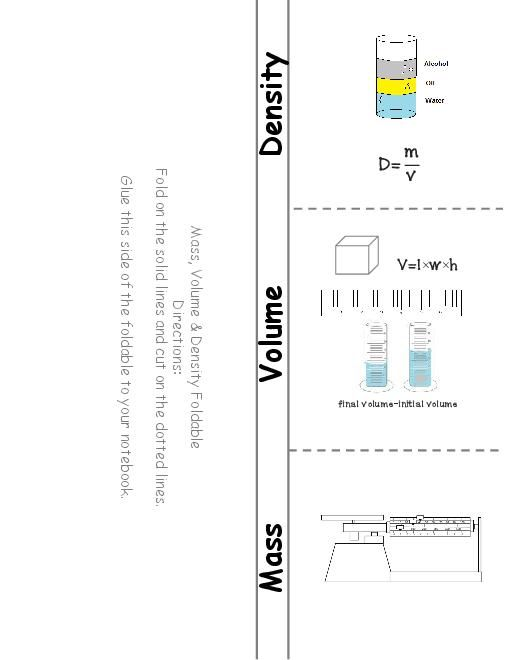 TeacherLingo.com $2.00 - Students create a 3 door foldable on mass, volume and density including tools, formulas, units and sample problems.     I use this activity as part of an interactive notebook.